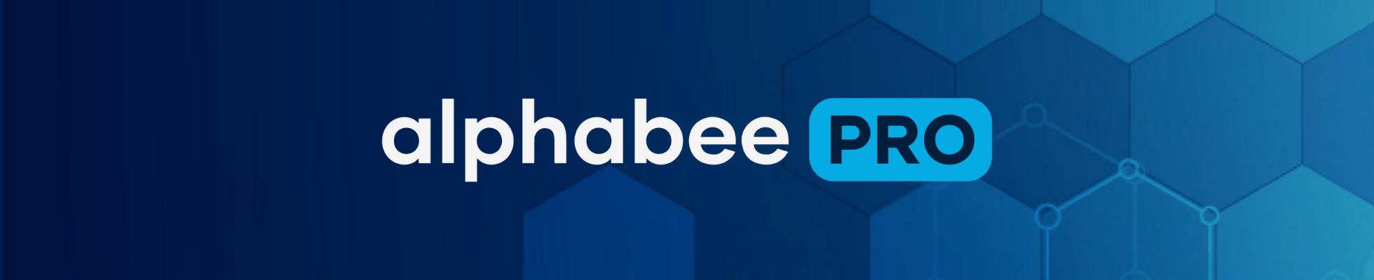alphabeePRO Banner - blue hexagonal pattern